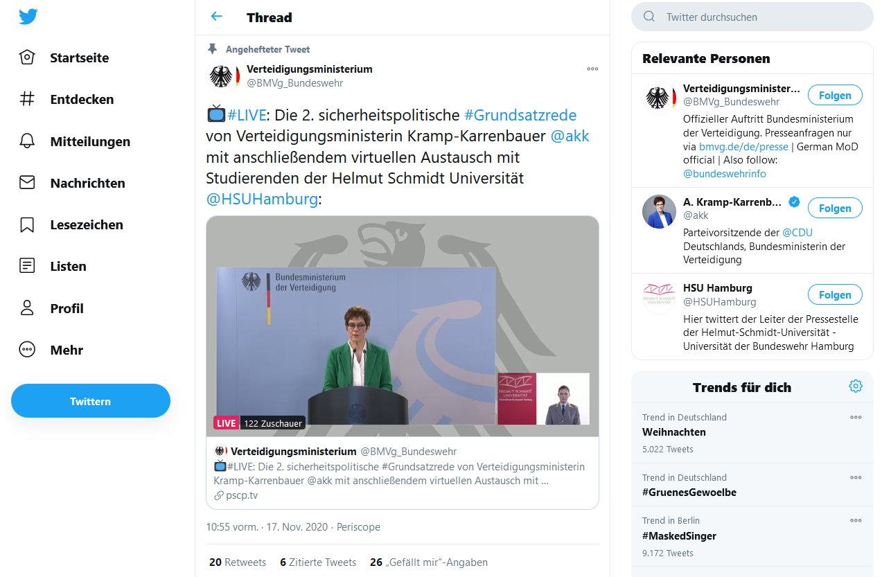 2. Grundsatzrede von Verteidigungsministerin Annegret Kramp-Karrenbauer #AKK vor Studenten der Universität der Bundeswehr in Hamburg
